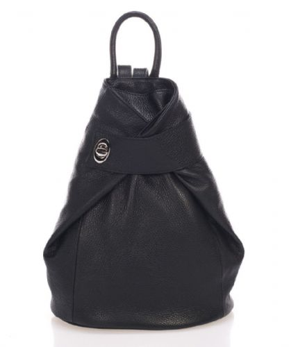 Leather Wrap Front Backpack - Black